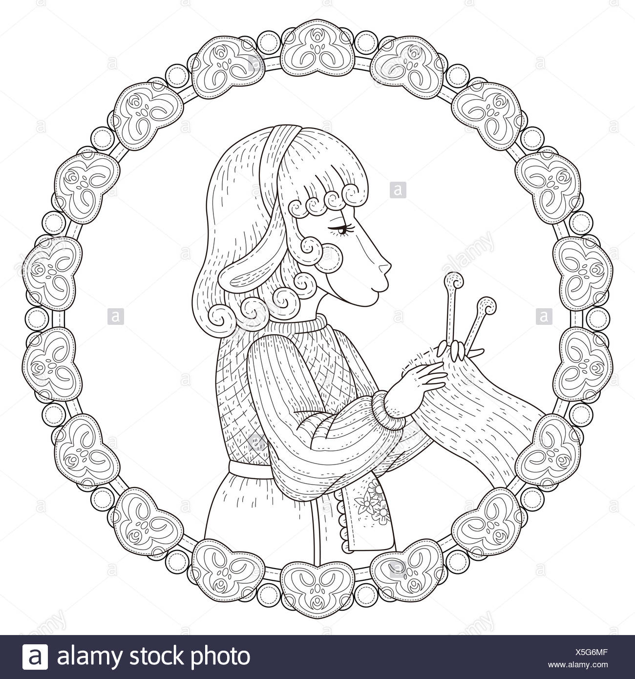 adorable sheep coloring page with floral elements in exquisite line ...