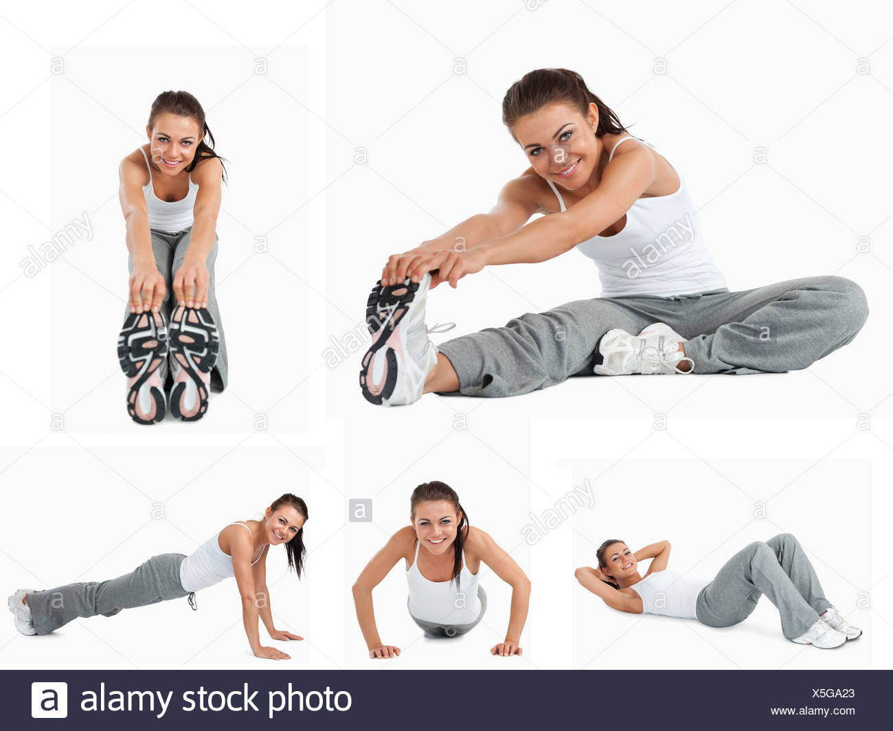 Collage of woman stretching - Stock Image