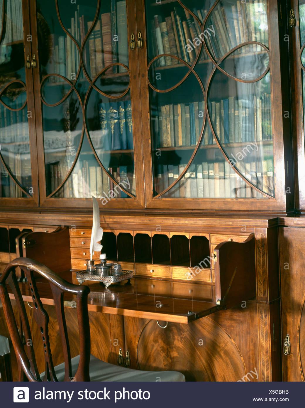 Close Up Of Antique Georgian Bureau Bookcase With Glass