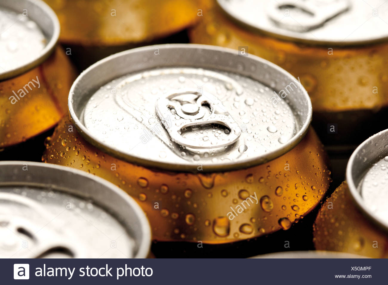Beer cans, close-up - Stock Image