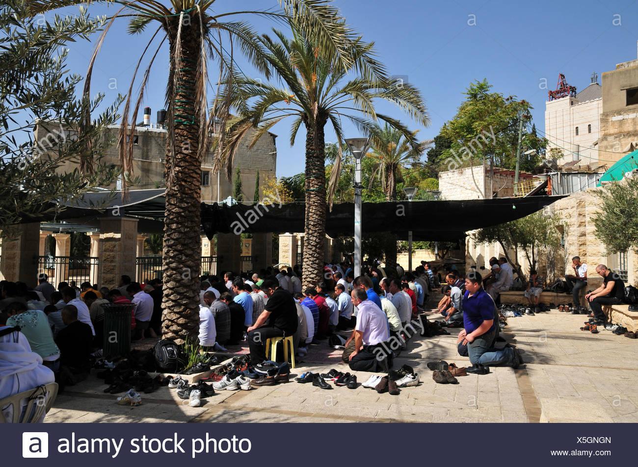 Israel, Nazareth A large group of Muslims at prayer - Stock Image