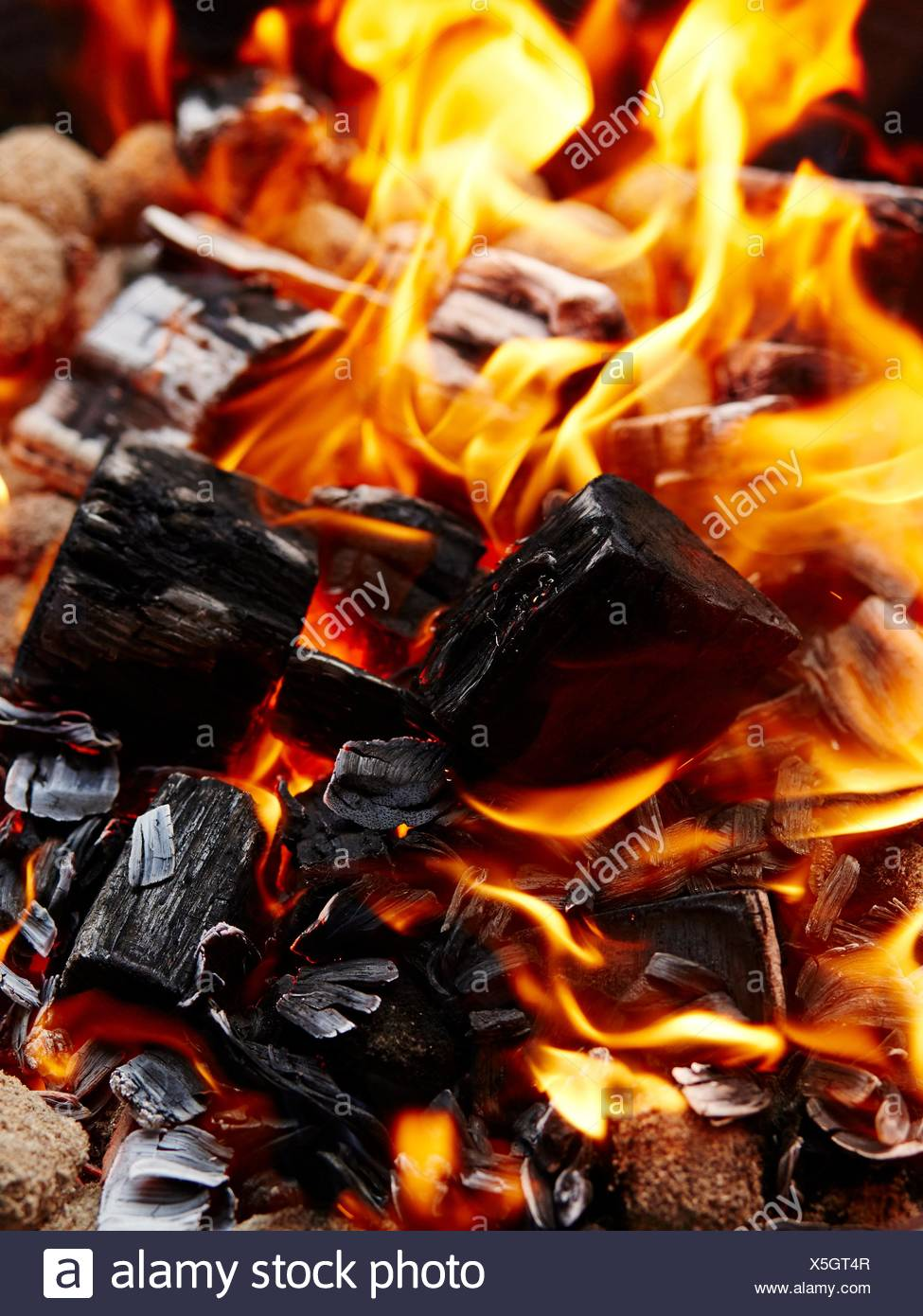 Fire, burning charcoal - Stock Image