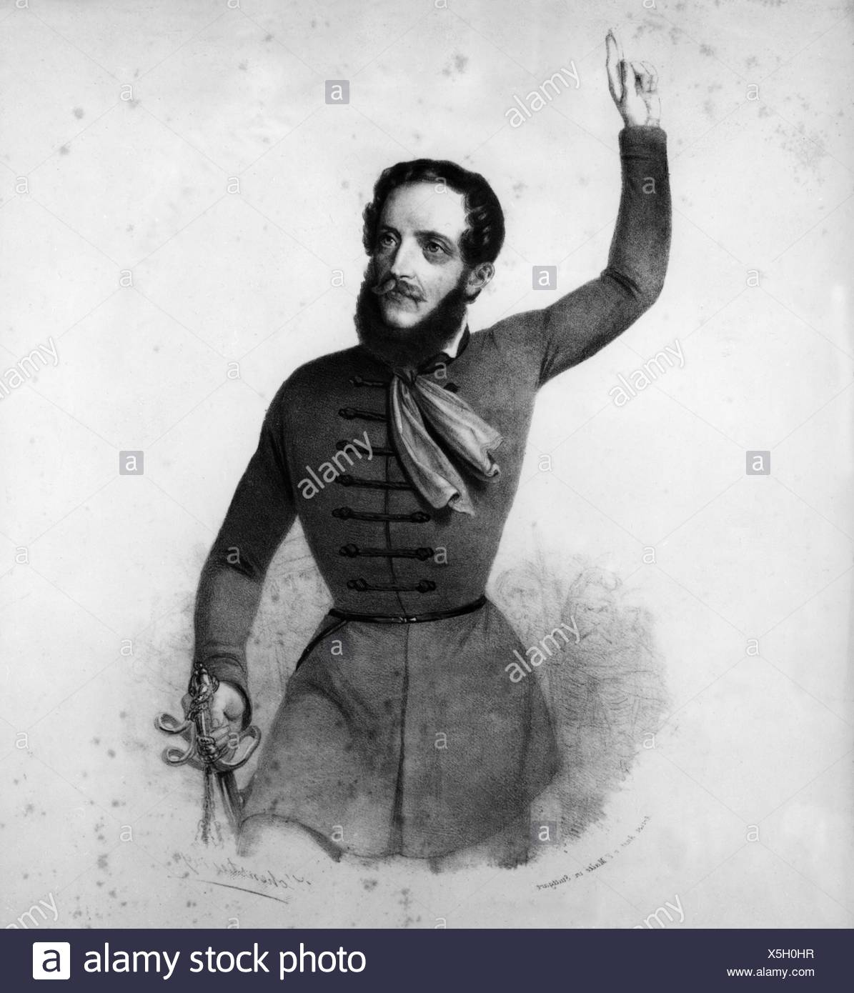 Kossuth, Lajos, 16.9.1802 - 20.3.1894, Hungarian politician, Regent-President of Hungary in 1849, half length, contemporary lithograph, 19th century, Stock Photo