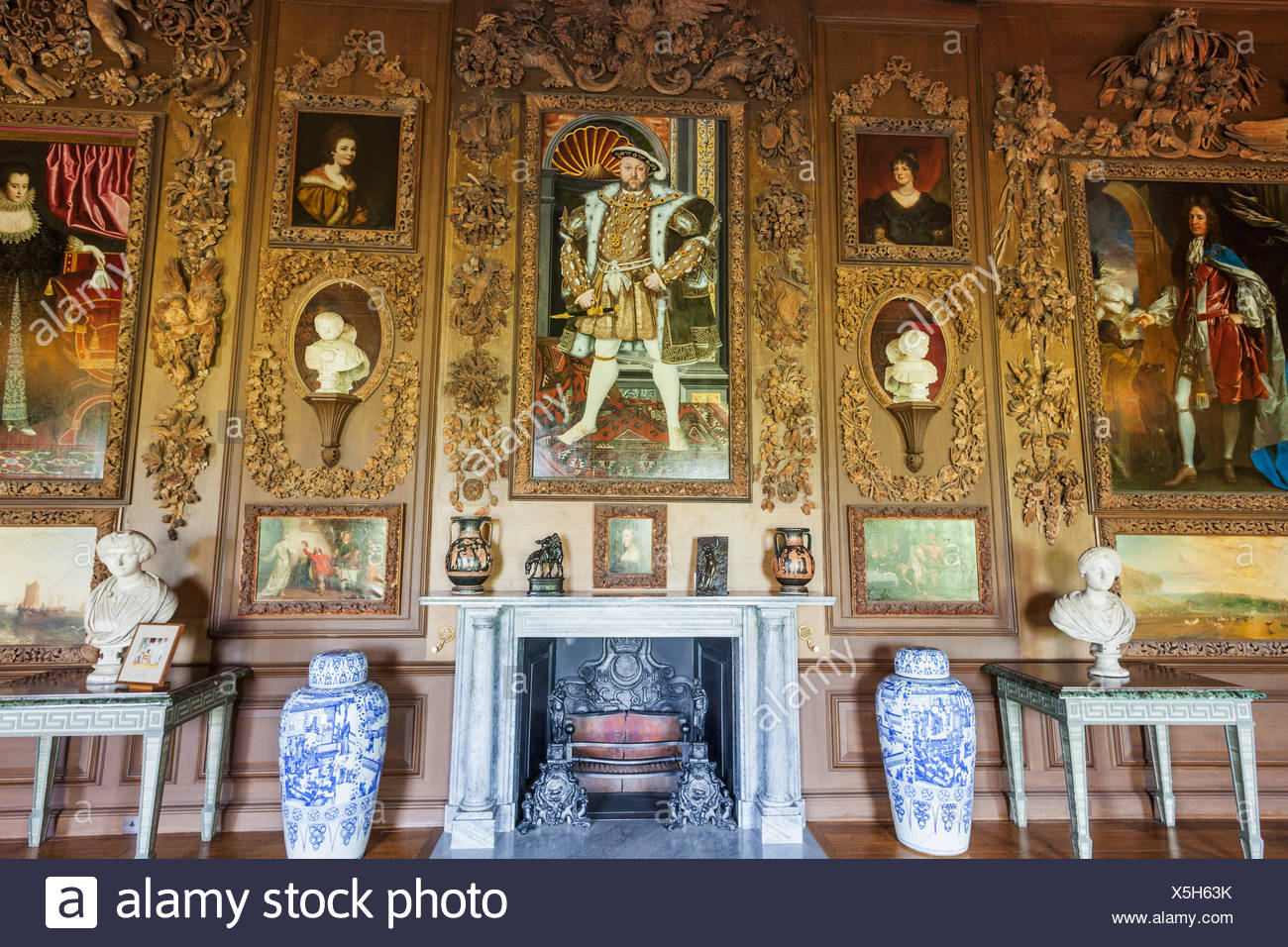 England, West Sussex, Petworth, Petworth House, The Carved Room, Portrait of Henry VIII, - Stock Image
