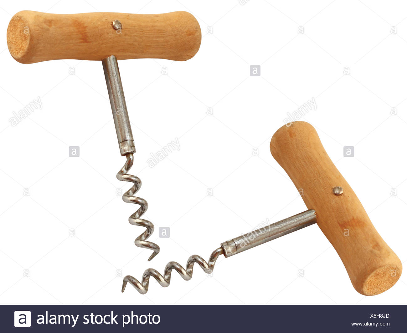 corkscrew with wooden handle Stock Photo