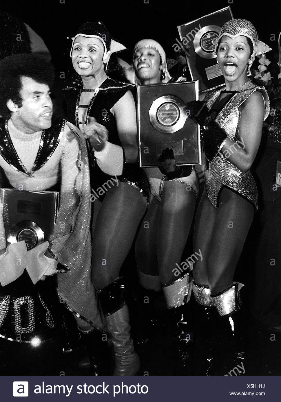 Boney M Caribbean Pop And Disco Group Formed In 1976 Picture With Golden Record 1980s Additional Rights Clearances NA