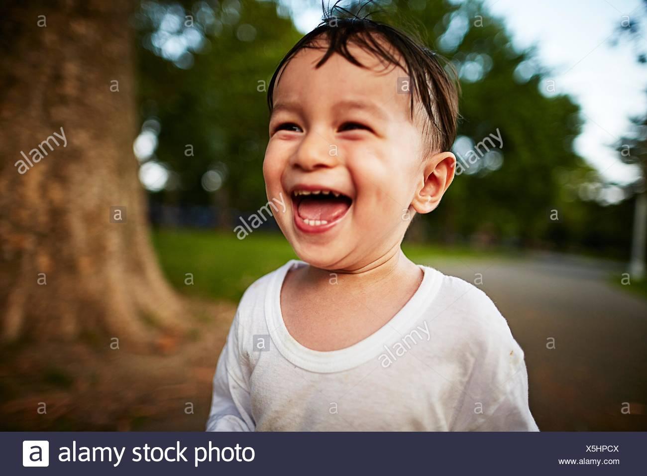 Portrait of happy boy - Stock Image