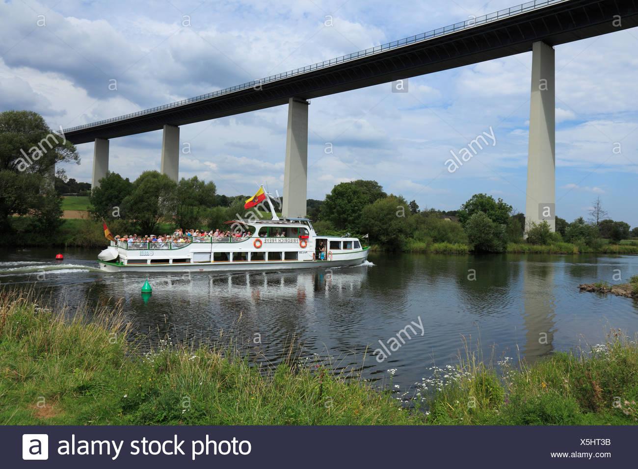 Iexcursion boat, white fleet, Mintarder Ruhr valley bridge, bridge, Mulheim on Ruhr, Ruhr area, North Rhine-Westphalia, Germany, - Stock Image