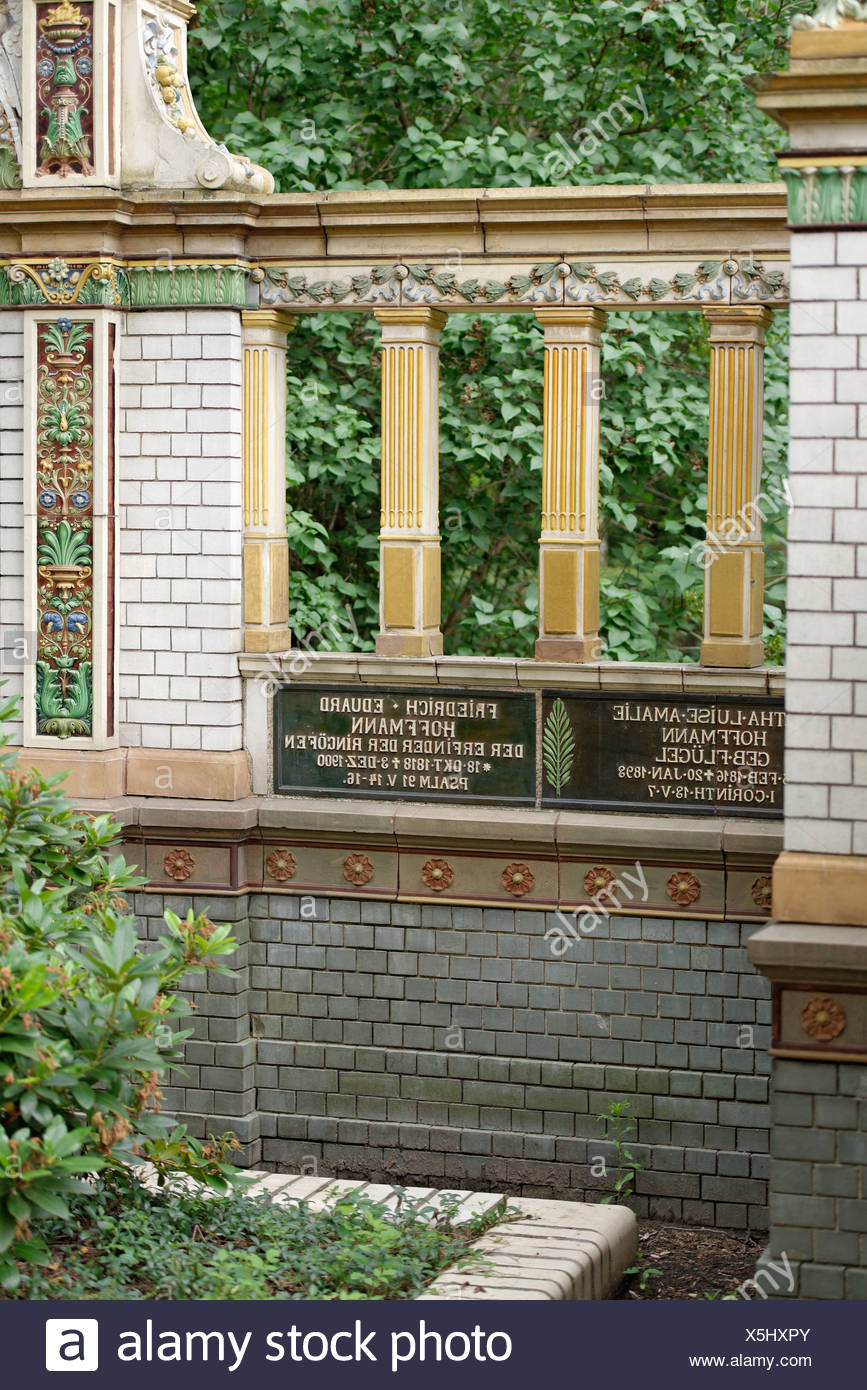 Tomb of Fr. E. Hoffmann, 1818 - 1900, a German architect and inventor, Dorotheenstadt cemetery, Berlin - Stock Image
