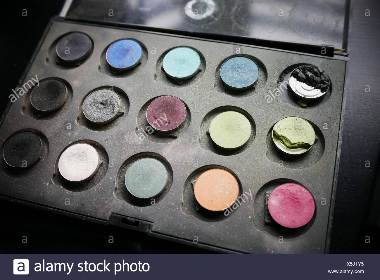 High Angle View Of Eyeshadow Kit - Stock Image