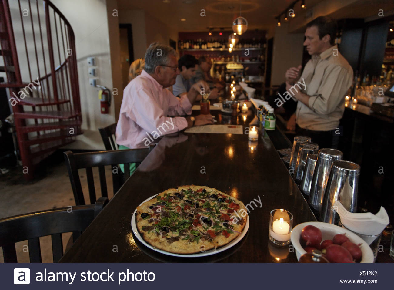 At 'Michael's Genuine Food & Drink' restaurant. - Stock Image