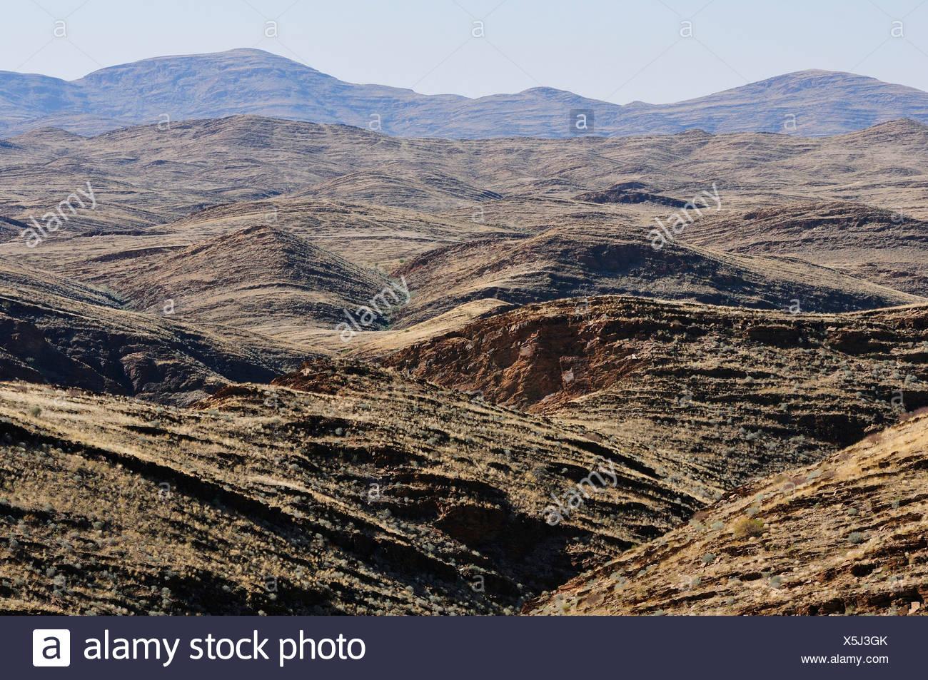 Africa, Namib, Naukluft, Park, Namibia, desert, fold, geology, horizontal, landscape, monochromatic, rolling hills, hills - Stock Image