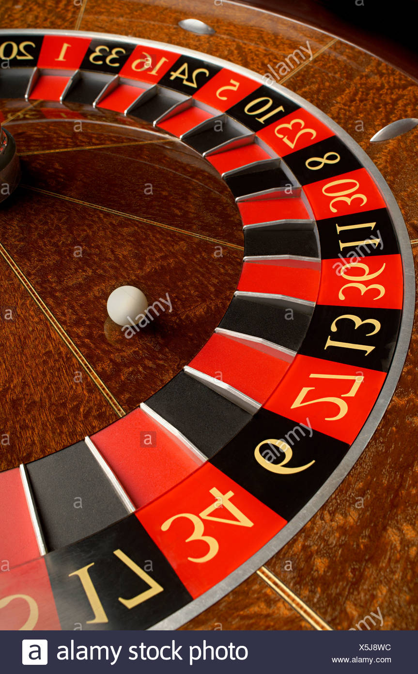 Roulette wheel and ball Stock Photo