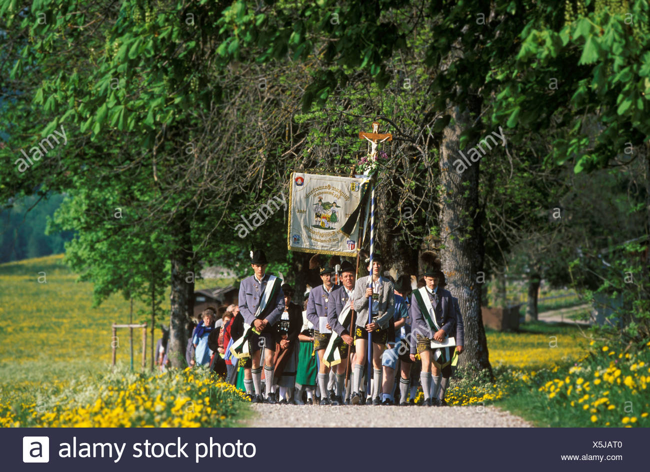 Traditional pilgrimage to Maria Trost during Pentecost, Nesselwang, East Allgaeu, Bavaria, Germany, Europe - Stock Image