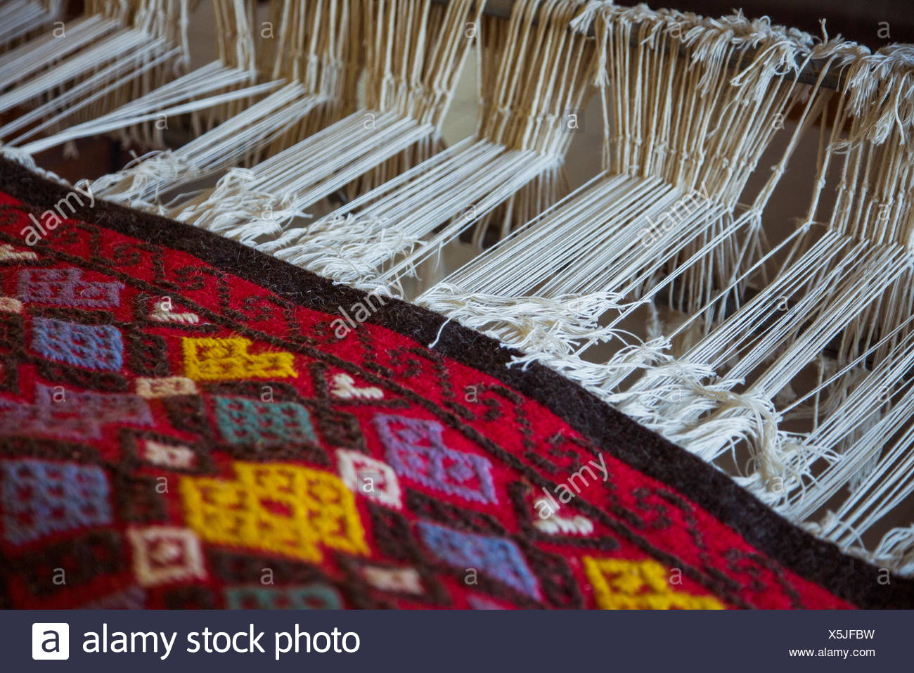 High angle view of fabric handloom weaving machine Stock