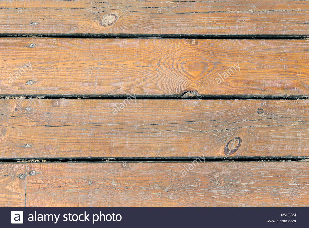 rough horizontal near surface planks nobody uneven wooden textured backdrop background textures grains grainy flooring - Stock Image