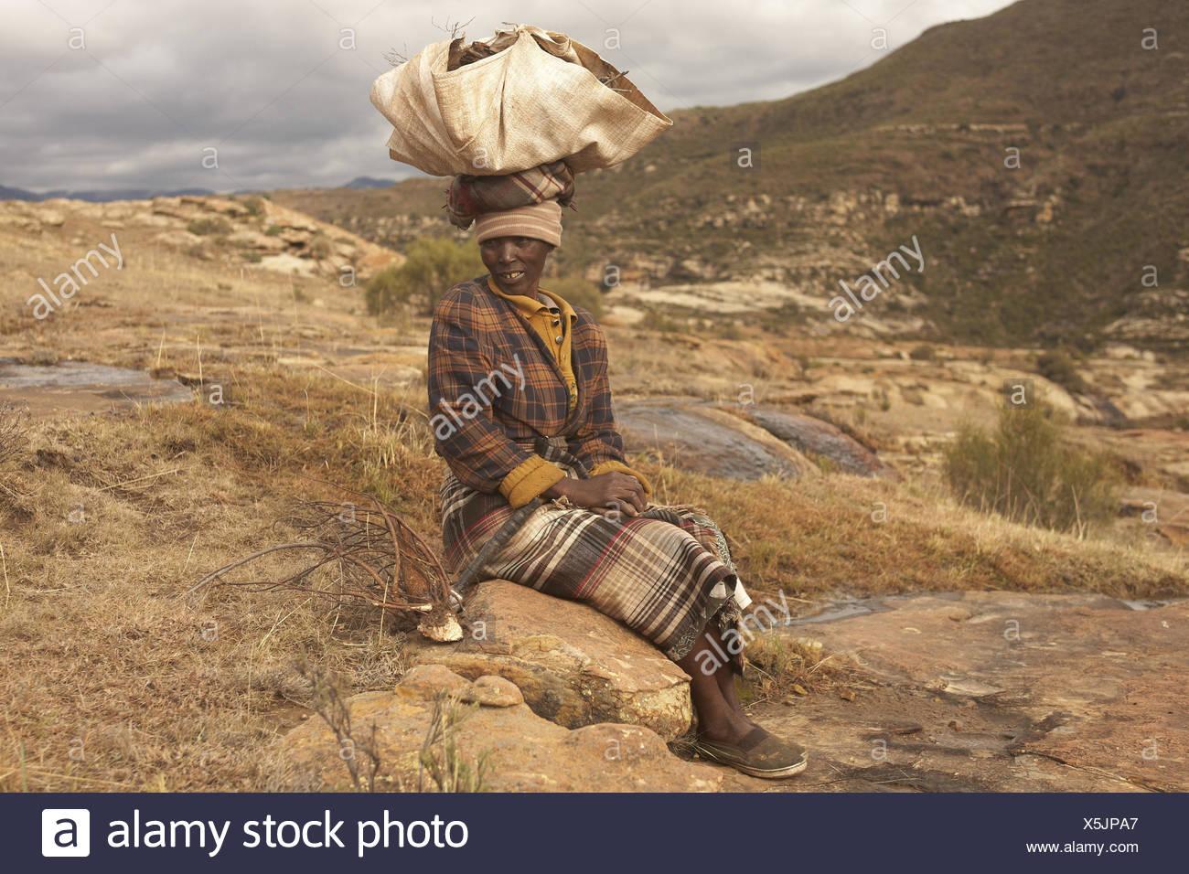 Africa, southern Africa, Lesotho, formerly Basutoland, province Maseru, Malealea, Drakensberge, Maloti mountains, Lowlands, - Stock Image