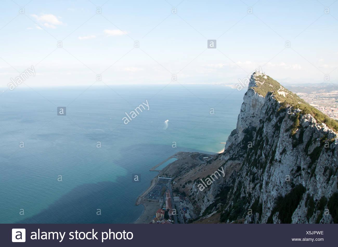 spain, water, mediterranean, salt water, sea, ocean, colony, gibraltar, strait, - Stock Image