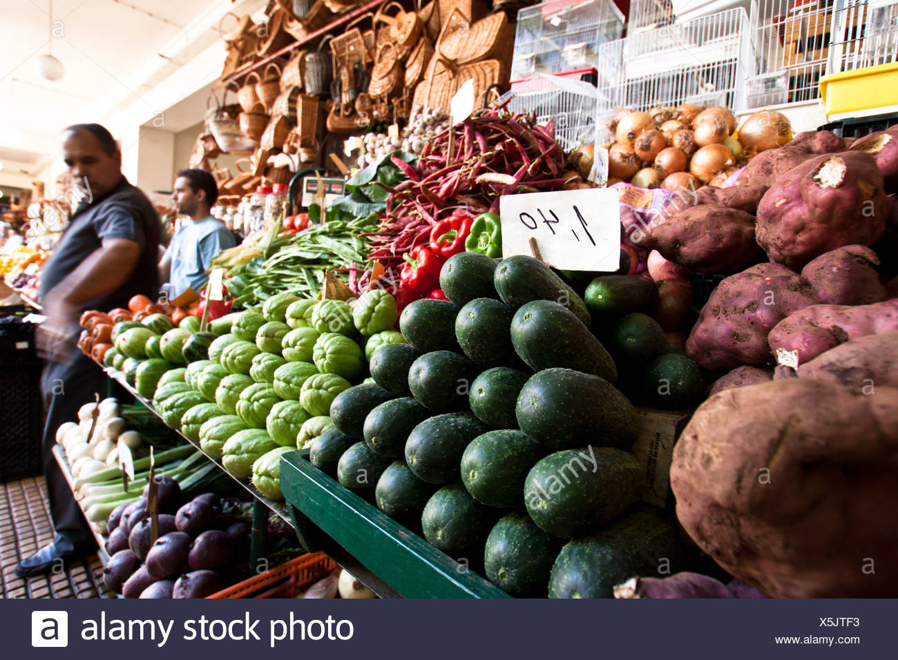 Greengrocery at Mercado dos Lavradores, Funchal, Madeira. - Stock Image