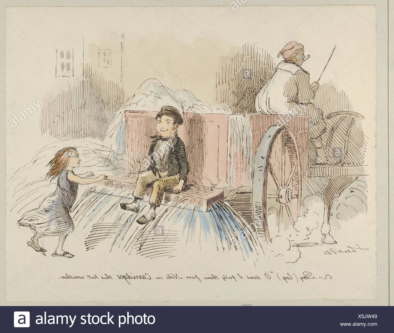 Boy (loq.) O don't I pity them poor Nobs in Carriages this hot weather. Artist: John Leech (British, London 1817-1864 London); Date: 1830-64; Medium: - Stock Image