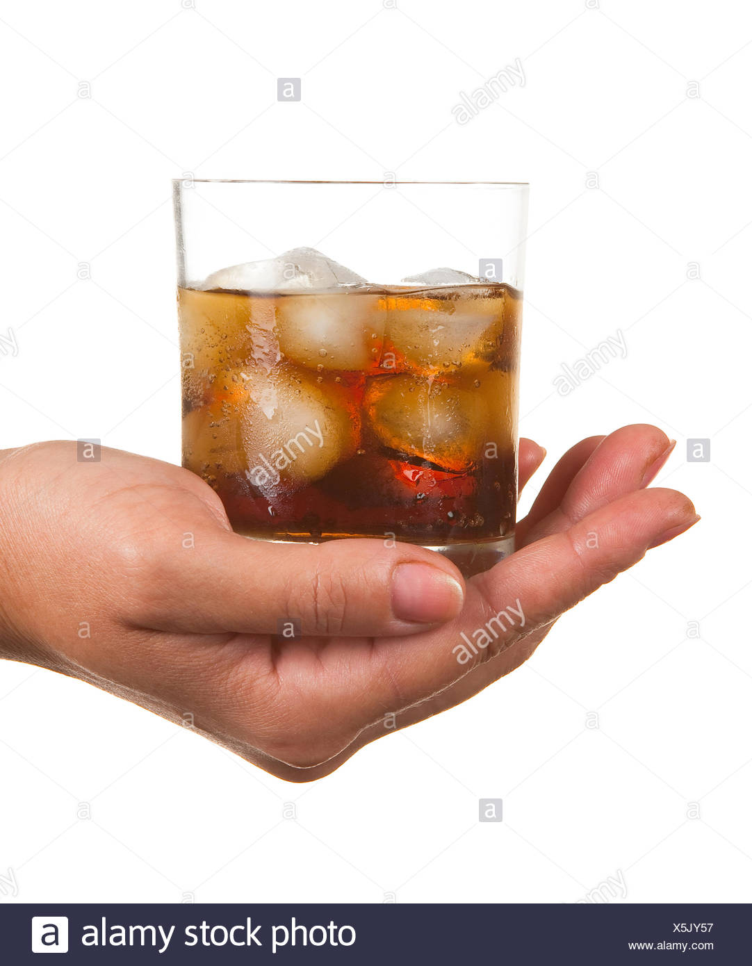 Carbonated water with ice in a glass - Stock Image
