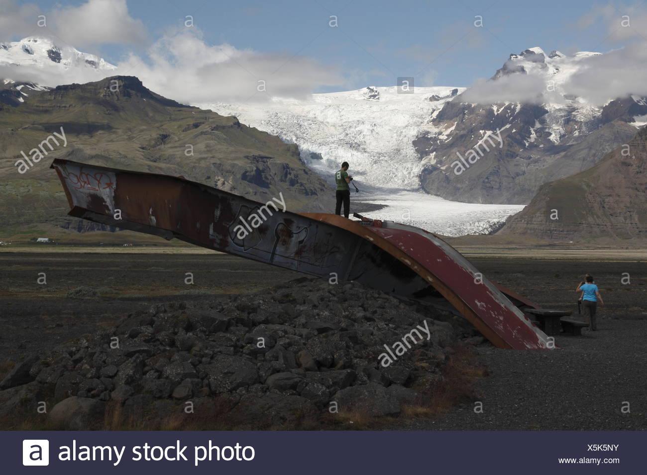 Remains of the old bridge on the Skeiðarársandur - Stock Image