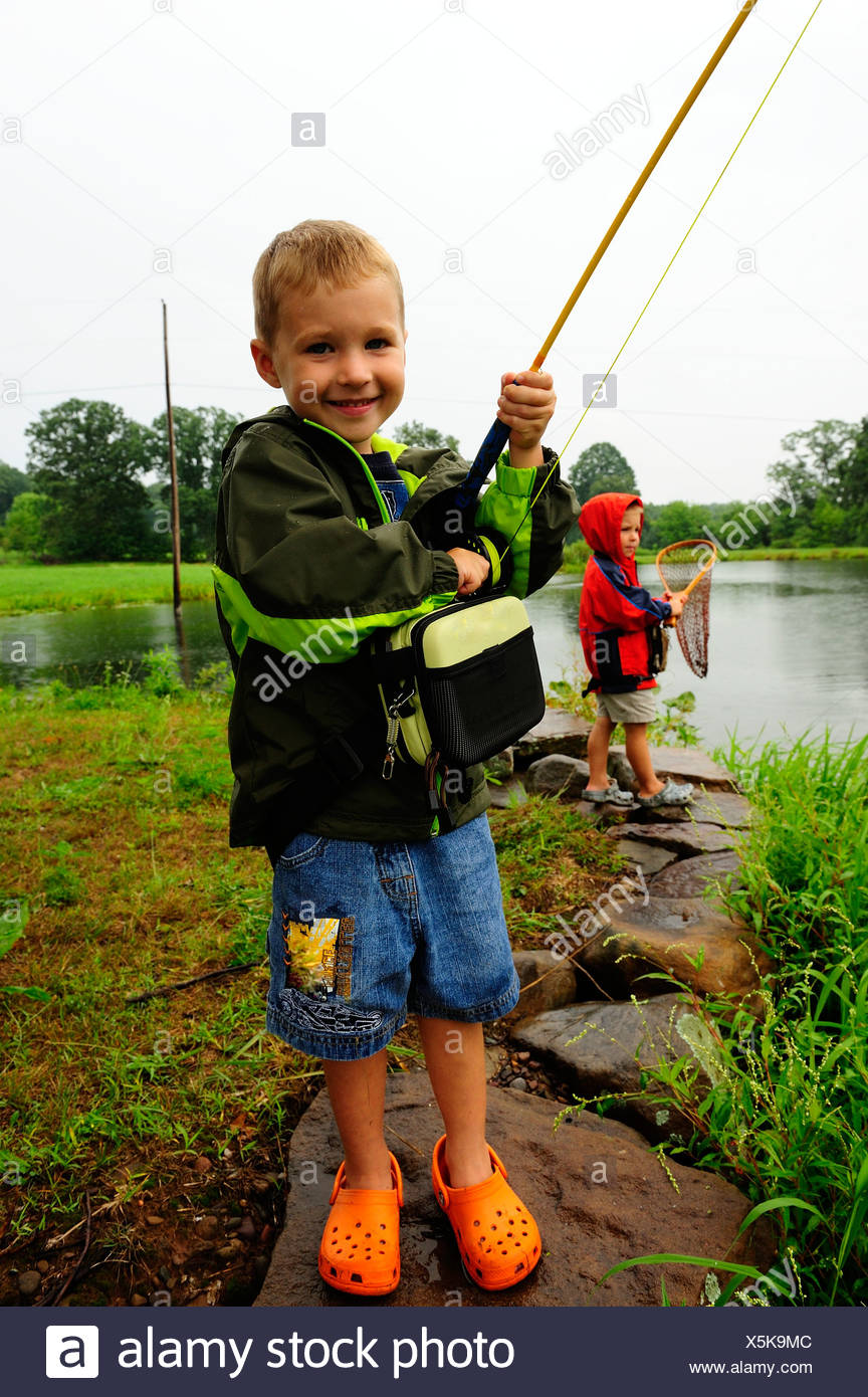 Young boys fishing in northeast PA. - Stock Image