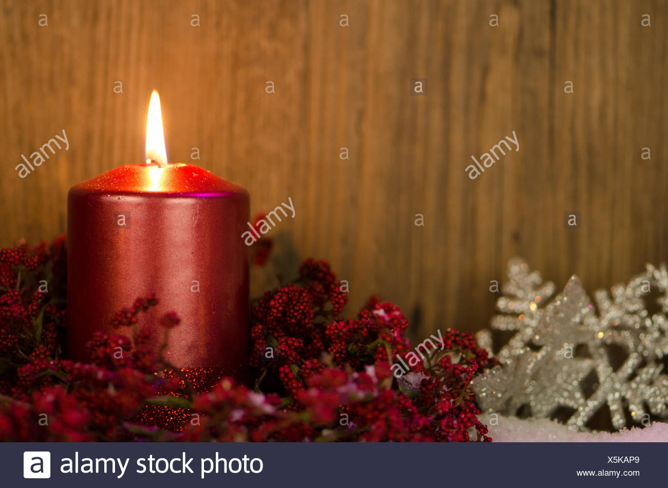 Single At Christmas.Single Candles Christmas Decoration Stock Photo 278864721