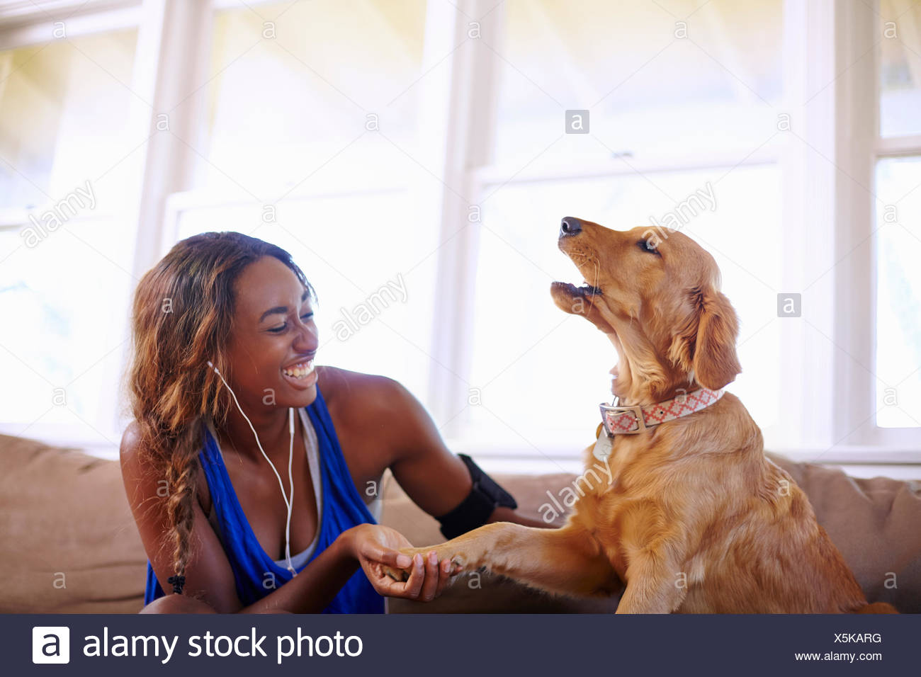Young woman taking a training break, petting dog in sitting room - Stock Image