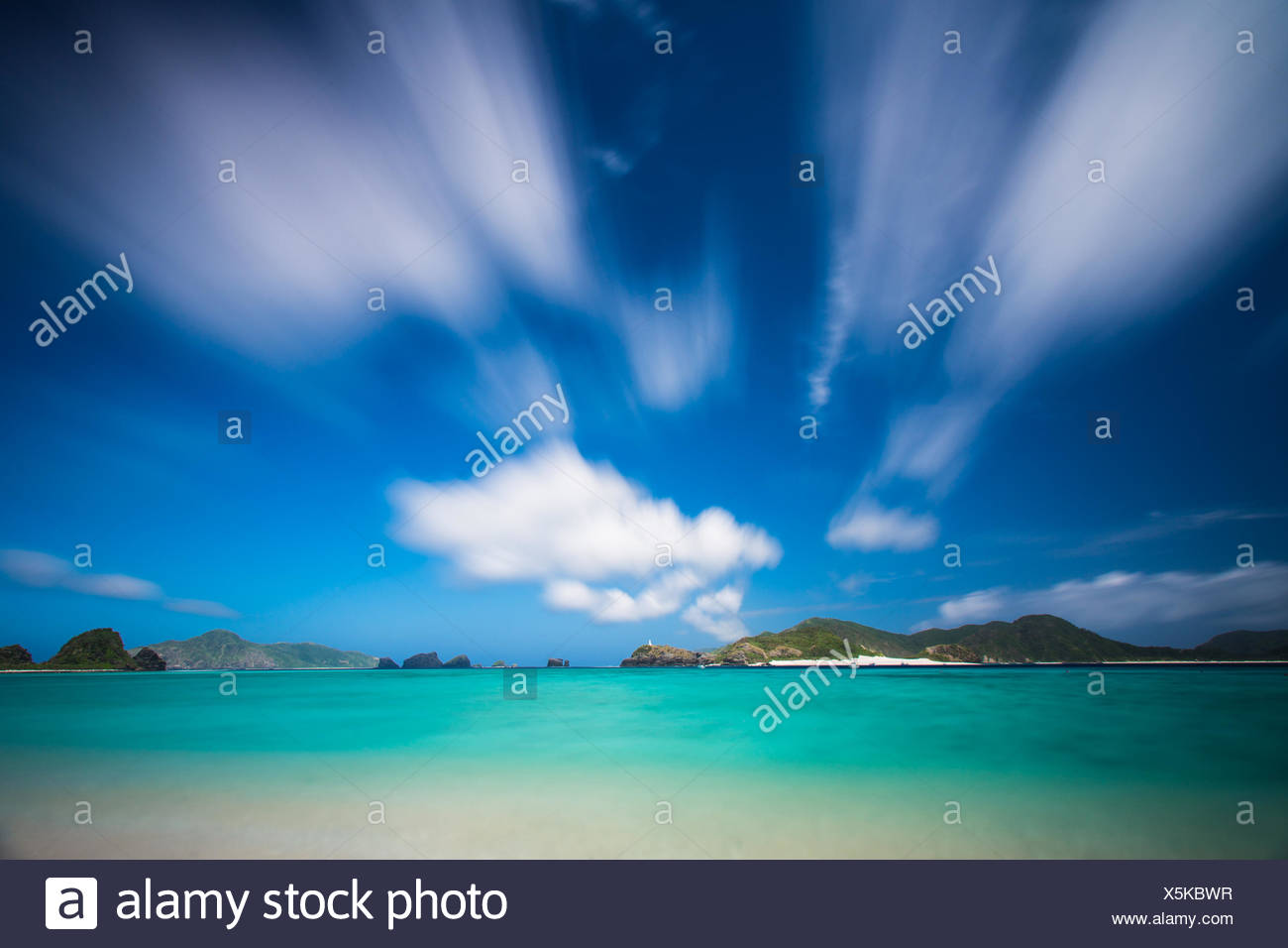 Tropical beach scene, Okinawa, Japan - Stock Image