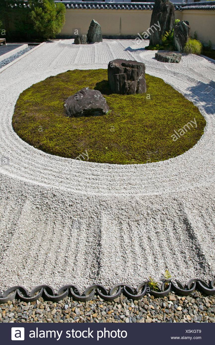 The rock garden ´Ishidan´ in Ryogen-in Zen temple inside the Daitoku-ji temple complex. - Stock Image