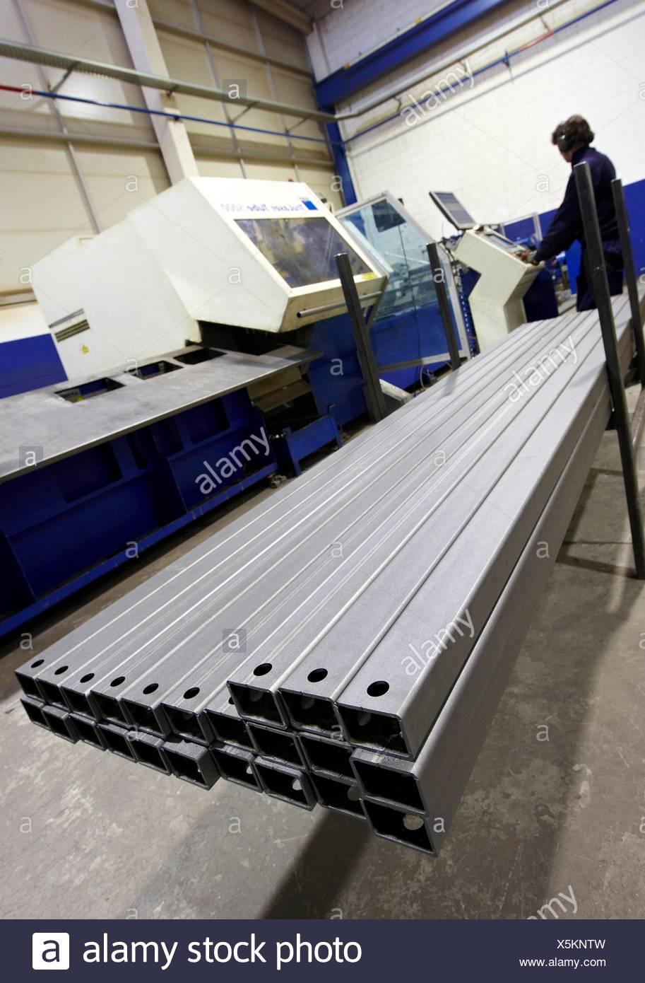 Laser cutting, steel sections, metallurgy, Gipuzkoa, Euskadi, Spain - Stock Image