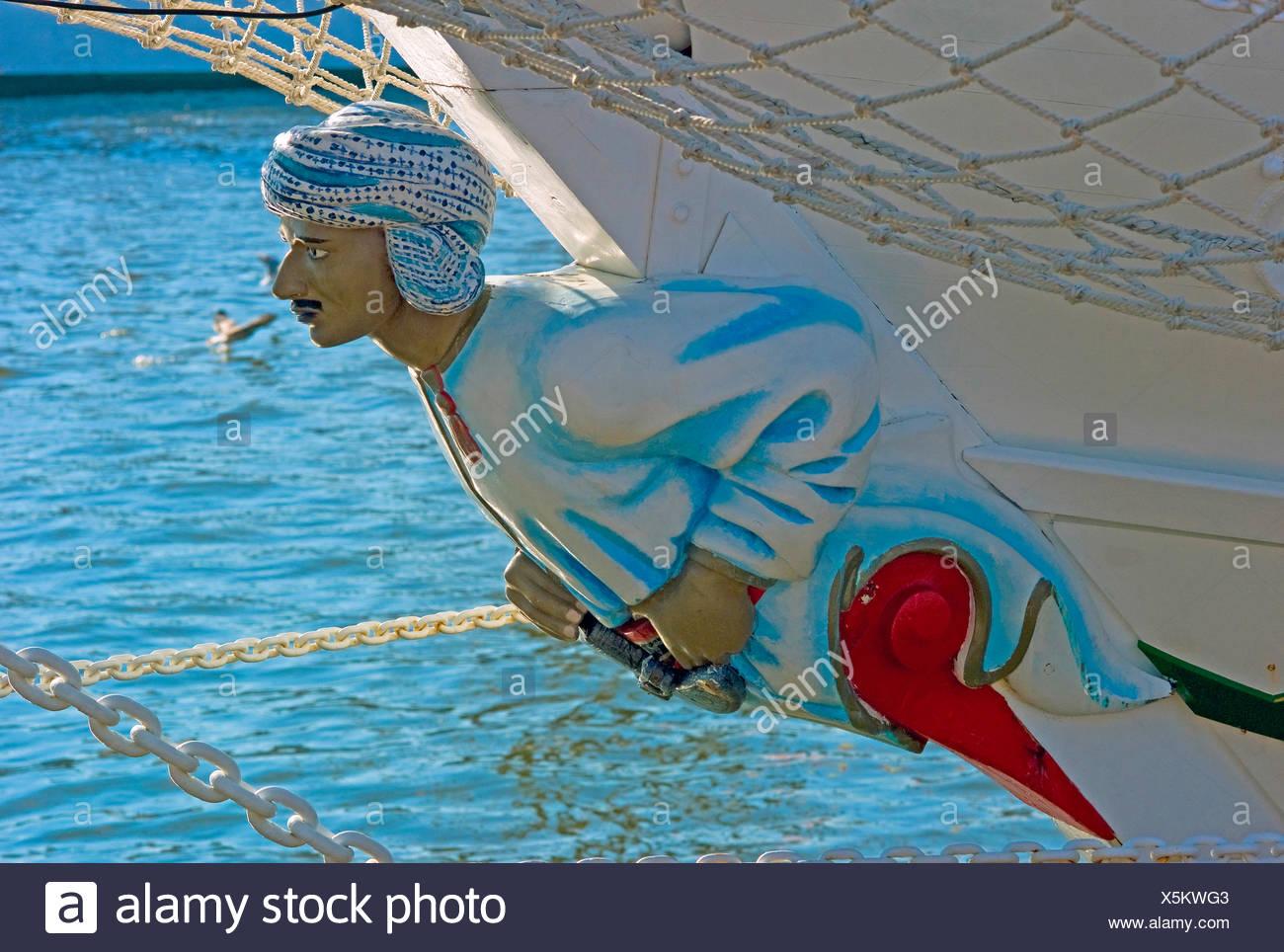 figurehead of training ship 'Shabab Oman' - Stock Image