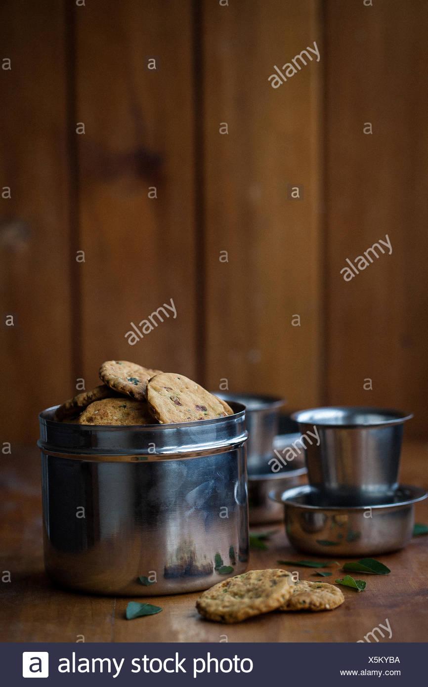 Baked savory crackers - Stock Image