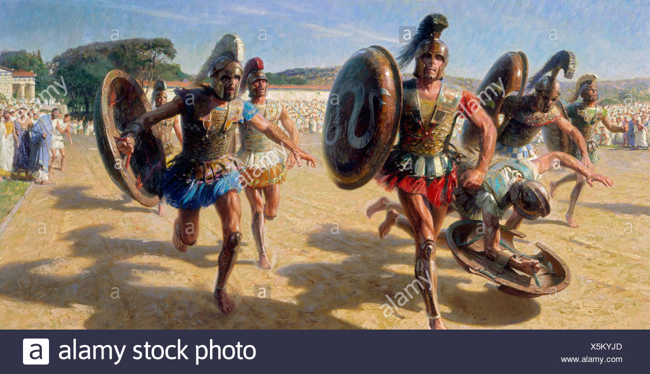 Greek contestants wearing heavy armor race for fame and olive wreath. - Stock Image