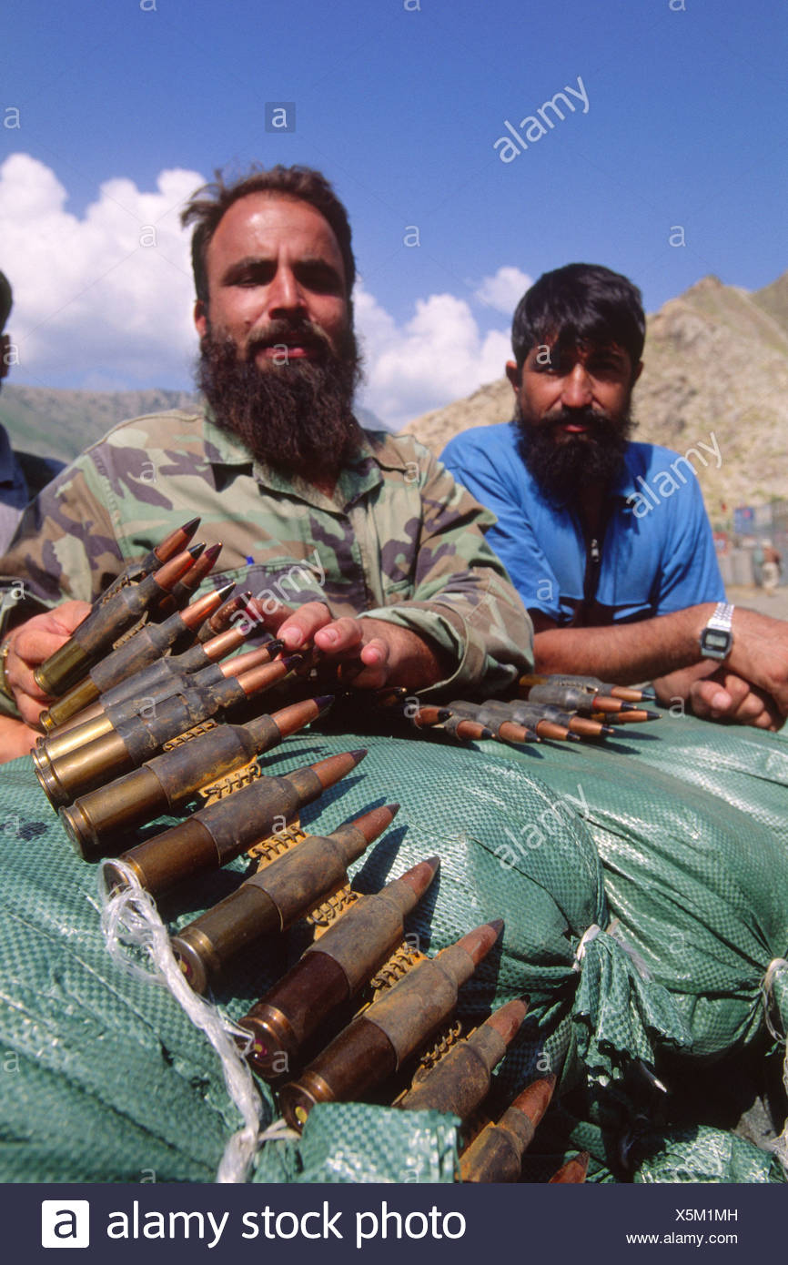 Afghan Security Forces Hold 14.5mm Anti-Aircraft Rounds At Nangalam, Afghanistan - Stock Image
