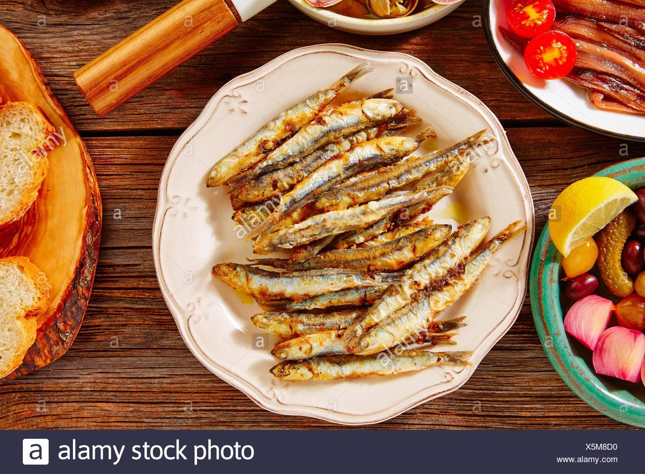 Tapas seafood fried anchovies fish from Spain. - Stock Image