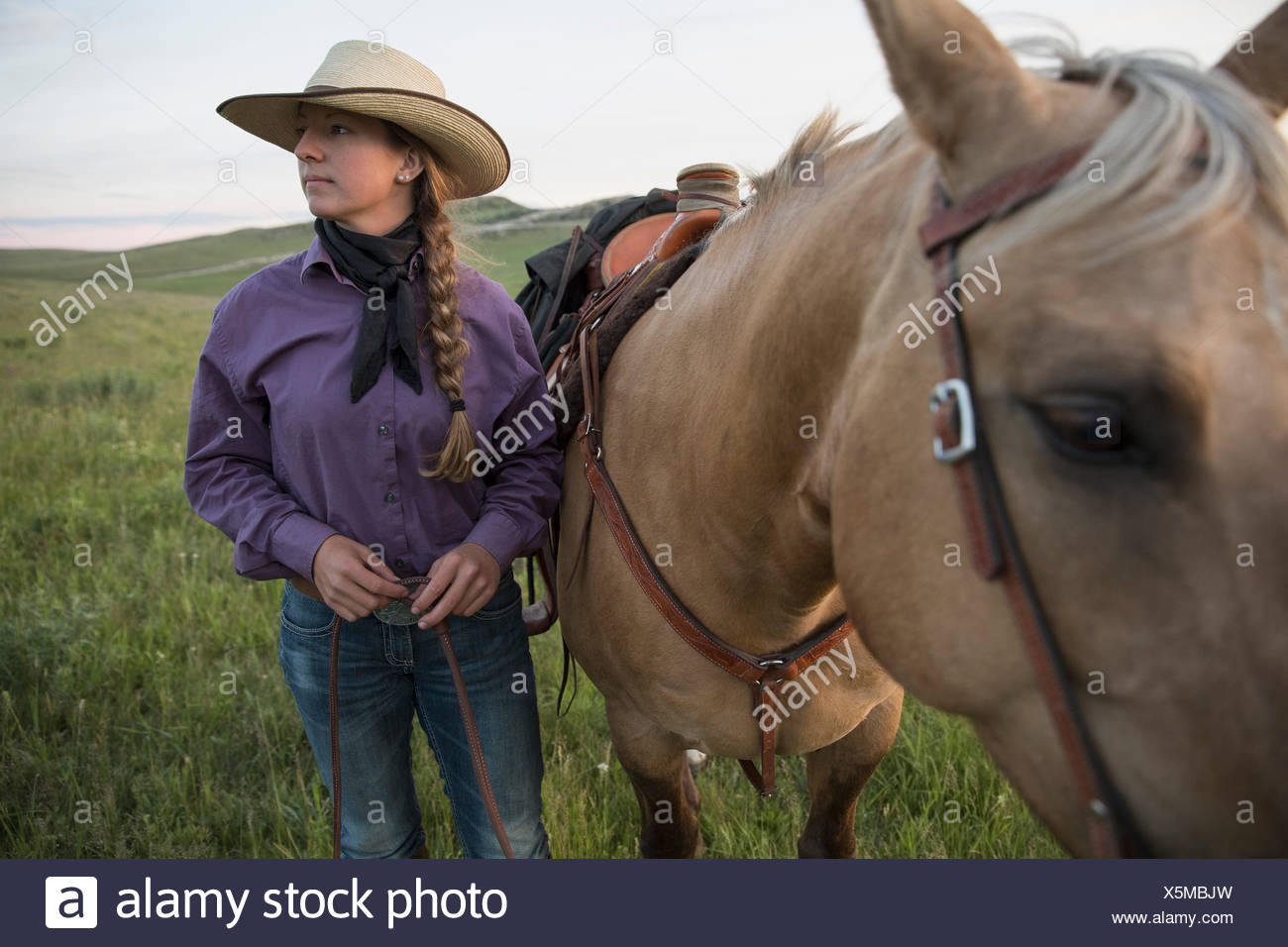 Female rancher with horse looking away in field - Stock Image