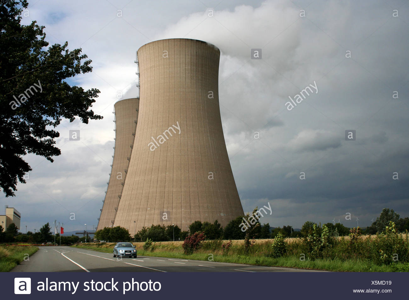 environment enviroment tree trees dome power station water vapor generation of - Stock Image