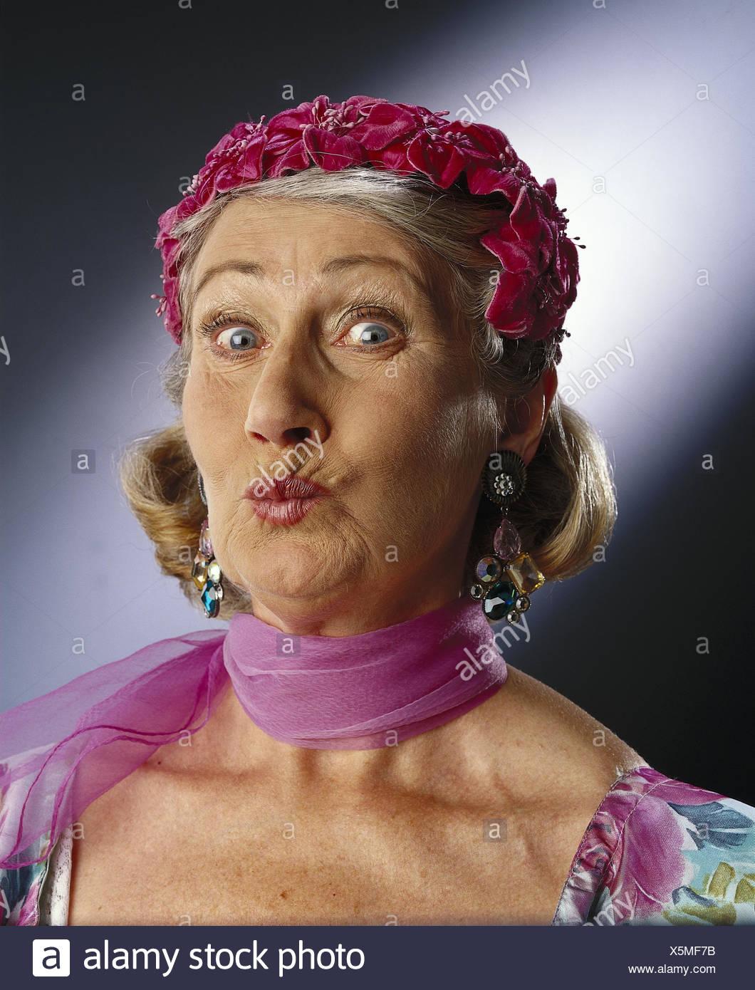 Senior, care, earring, neckerchief, facial play, portrait, mb 125 A7 - Stock Image