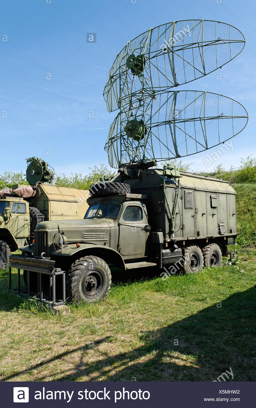 Old russian truck with radar antenna, Hungaria Stock Photo