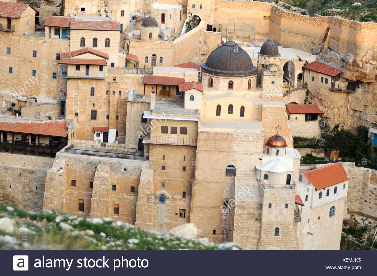 Israel, Judaea Dessert, Wadi Kidron, The Great Lavra of St. Sabas (also Mar Saba) is a Greek Orthodox monastery overlooking the - Stock Image