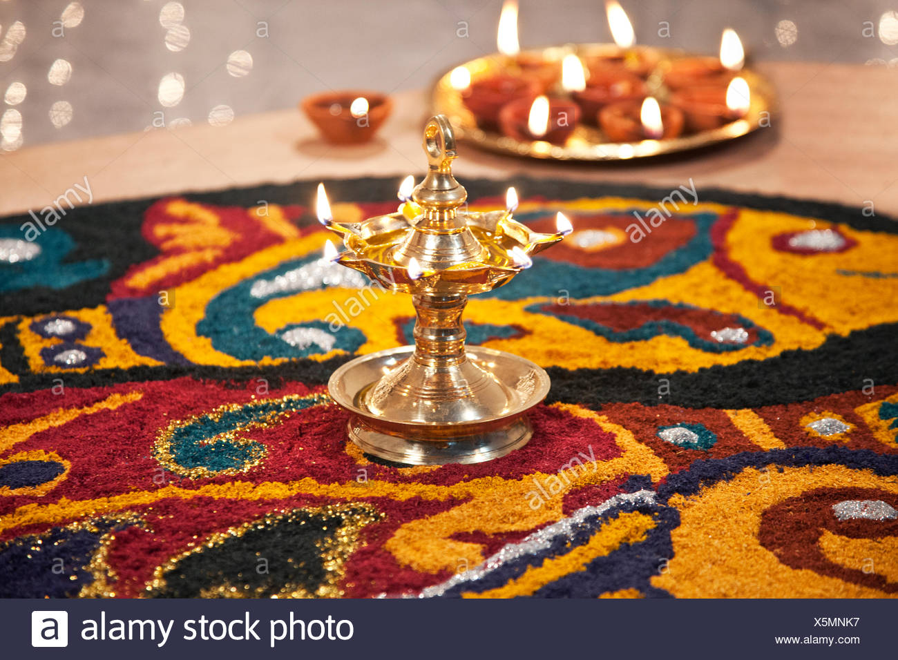 Close-up of rangoli with diyas Stock Photo
