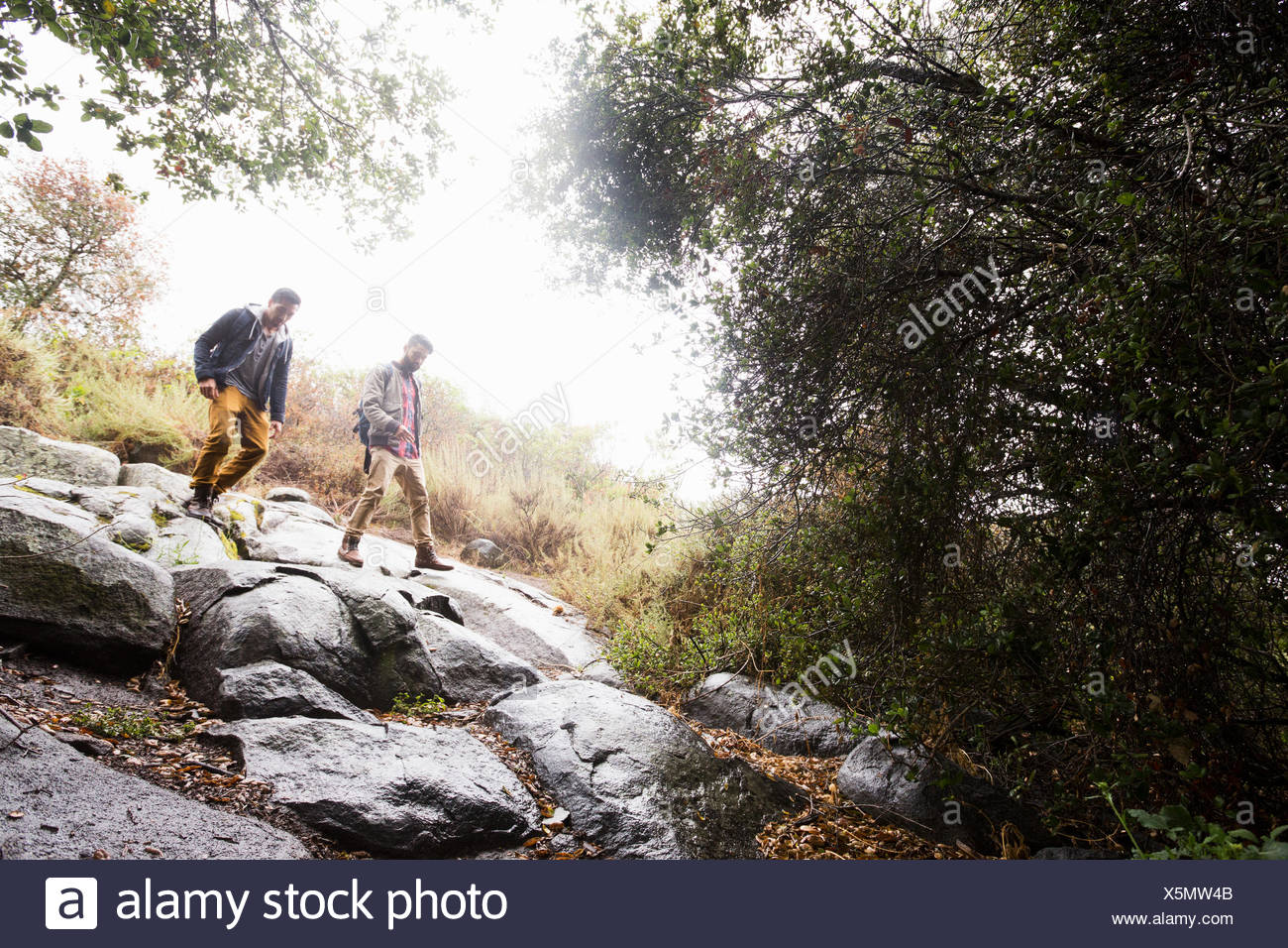 Two young men carrying backpacks hiking - Stock Image