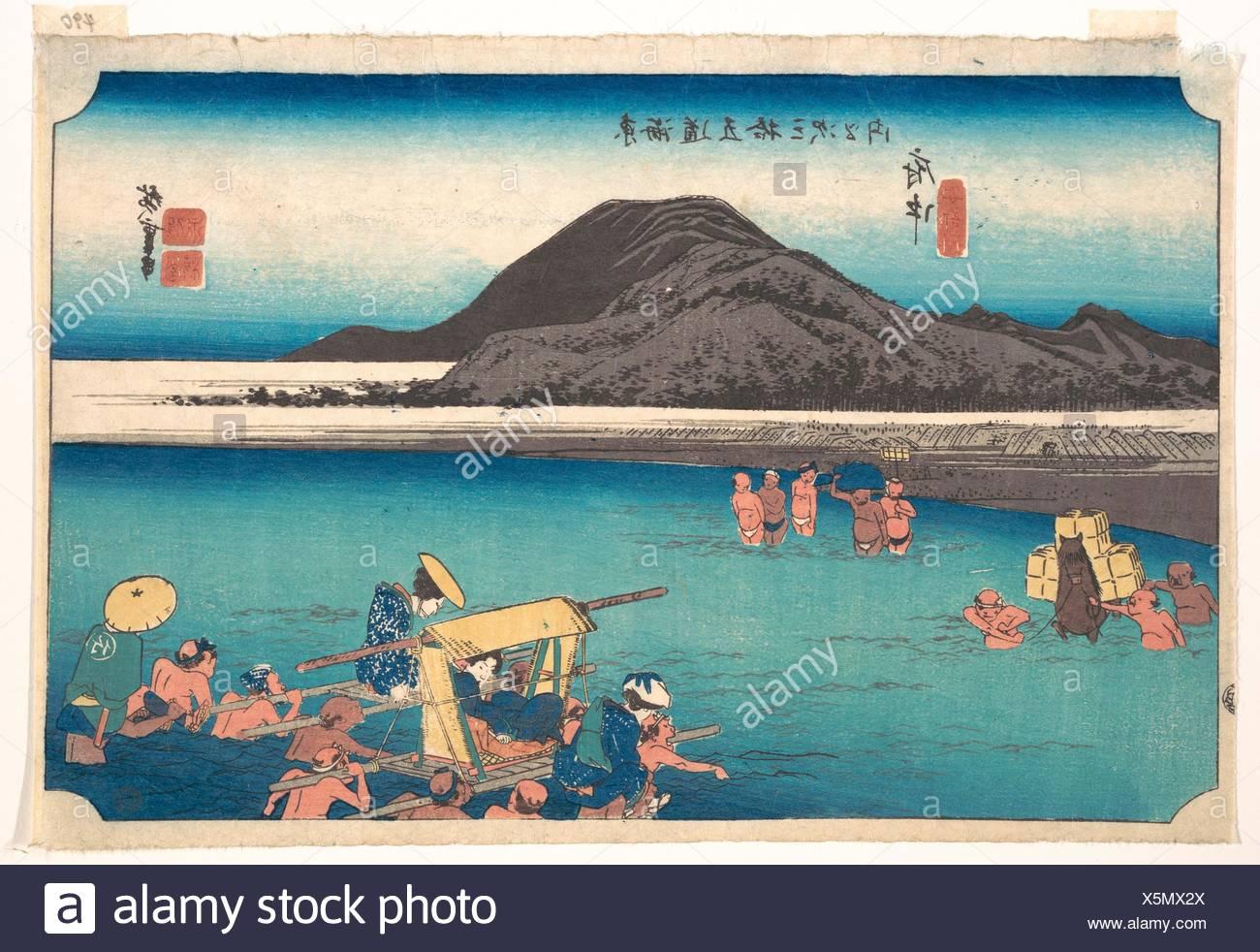 東海道五oä¸‰æ¬¡ä¹‹å†… 府中 安部川/Travellers Fording the Abe River at Fuchu. Artist: Utagawa Hiroshige (Japanese, Tokyo (Edo) 1797-1858 - Stock Image