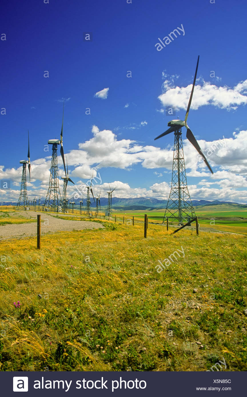 Wind turbines, Cowley Ridge Wind Power Inc. Pincher Creek, Alberta, Canada - Stock Image