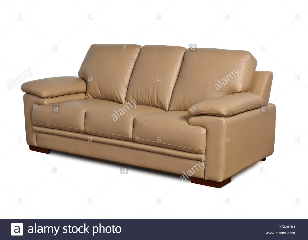 light brown leather sofa on white background Stock Photo