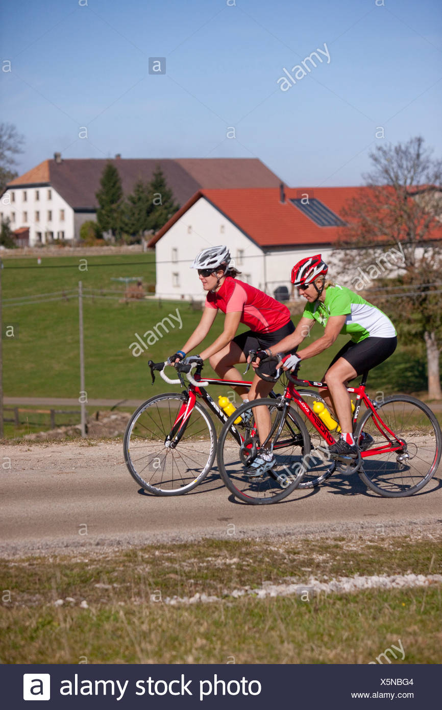 Cyclist, biker, to free mountains, Les Rouges-Terres, canton, JU, Jura, autumn, bicycle, bicycles, bike, riding a bicycle, Switz - Stock Image