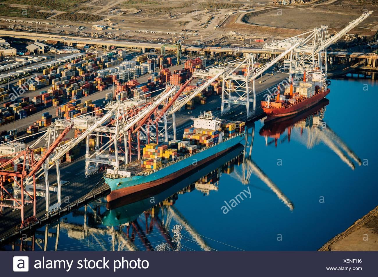 Shipping port, Los Angeles, California, USA - Stock Image
