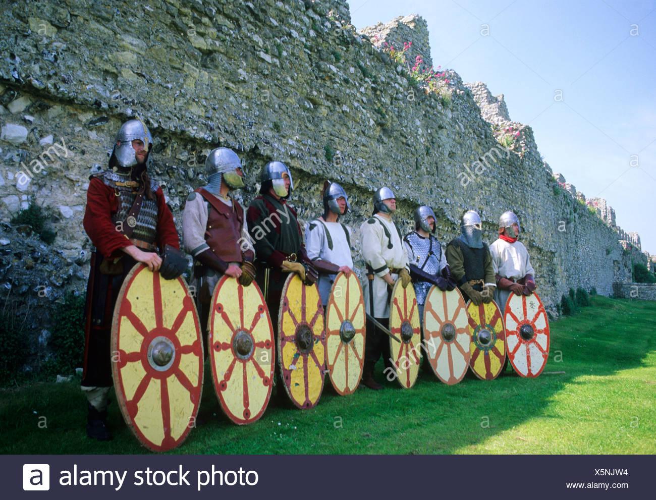 Romano British Saxon Warriors shields armour 5th century English history re-enactment helmets soldiers military England UK - Stock Image